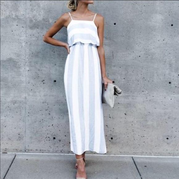 VICI Charleston Striped Midi Dress
